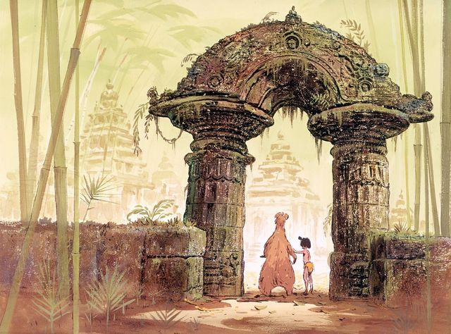 Ken Anderson and background painter Al Dempster had something to do with these color studies for the Jungle Book. The beautiful cel above of Mowgli and Bagheera is a Milt Kahl drawing.There are endles