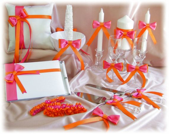 Hot Pink Orange Wedding basket, pillow, guest book, garters, cake set, flutes, candle,  Bridal, Reception and Ceremony Accessories