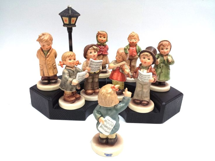 The Kinder Choir Collection, was created exclusively for M.I. Hummel Club members, but now available to everyone. It consist of a full 9 figurine choir, complete with FREE display bases and porcelain