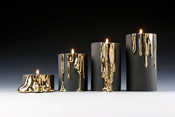 Black Candle Holder Handmade Candle Holder with Dripping Gold