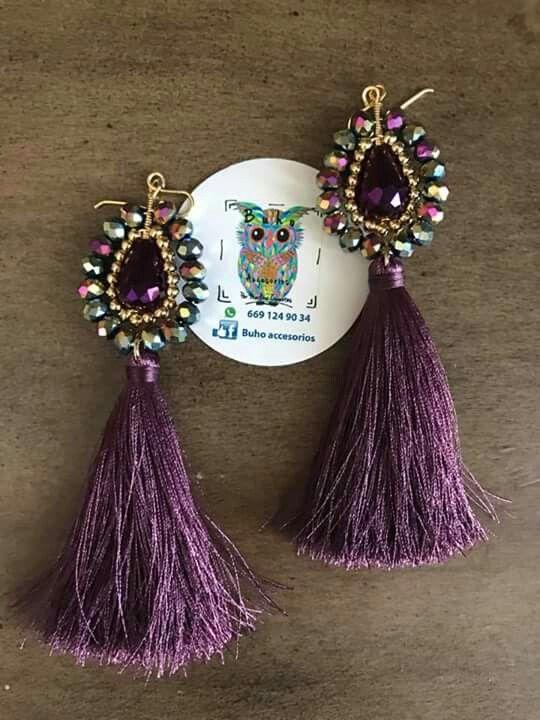 A pair of magnific, meduim, new, purple, Italian, earrings