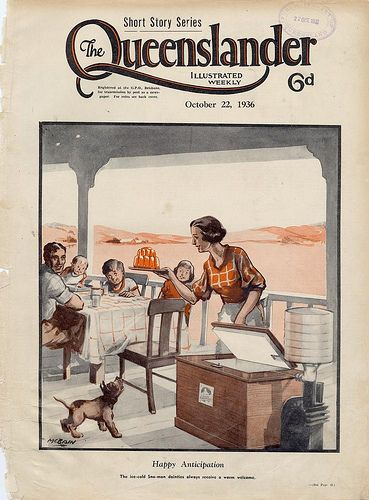 Illustrated front cover from The Queenslander, October 22, 1936  Happy anticipation : The ice-cold Sno-Man dainties always receive a warm welcome. The mother takes out some ice-cold treats from the Sno-man ice box, while the family sits at the table in anticipation.