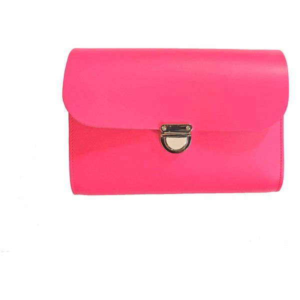 Hot Pink Clutch Bag ($89) ❤ liked on Polyvore featuring bags, handbags, clutches, hot pink purse, pink leather purse, leather handbags, genuine leather purse and pink handbags