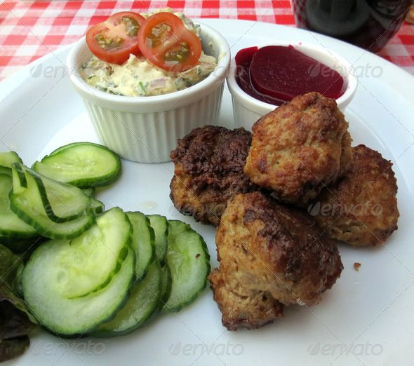 Danish meatballs (frikadeller) served with potato salad and pickled ...