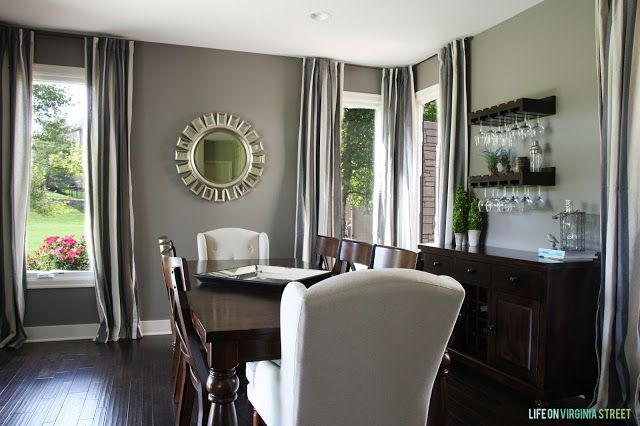 Wine Glass Storage   Dining room painted in Restoration Hardware Slate paint