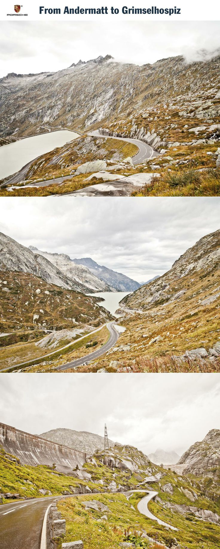 From Andermatt to Grimselhospiz, Switzerland. Those who go to Switzerland looking only for peace and quiet are missing out on something: goose bumps and an adrenaline rush. Start: Andermatt. Destination: Grimselhospiz. Driving time: Approx. 3.5 hours. Distance: Approx. 192 km (119 miles). Recommended travel time: June - September.   Learn more: http://link.porsche.com/gts/switzerland