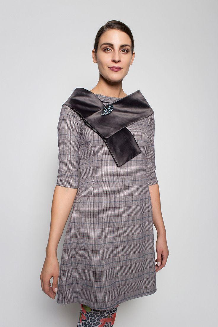 #lafemmemimi #fashion #prague #autumn #winter #2015 #lookbook #grez #check #dress #scarf