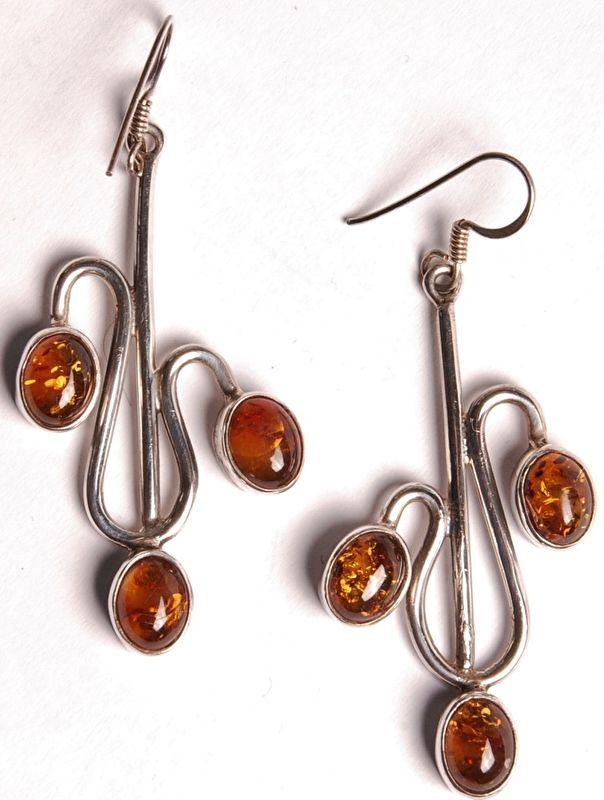 Oorbellen Amber - India - 925 zilver