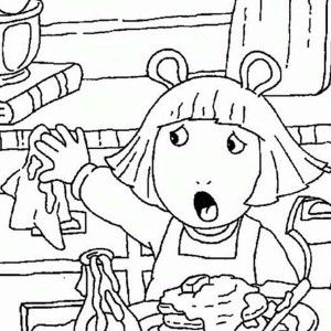 Arthur DW Read Making A Mess In The Kitchen Coloring Page