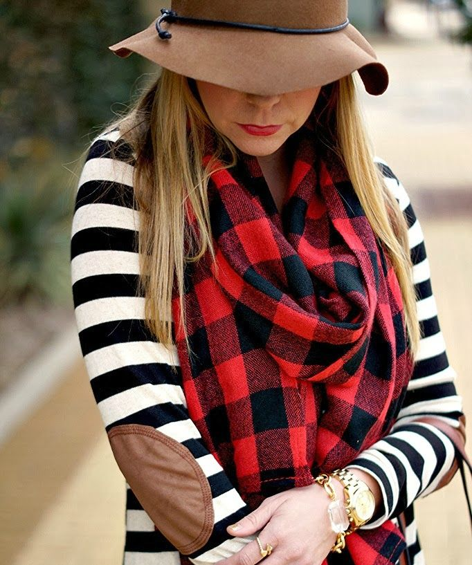 striped sweater with elbow patches + buffalo plaid scarf
