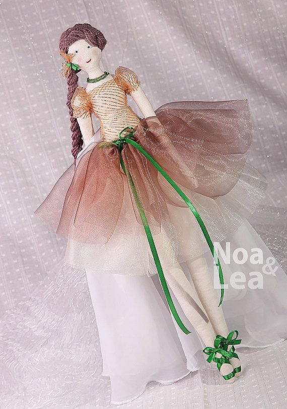 Mona - Tilda inspired Doll, Elegant Lady Doll, chiffon skirt, Shabby Chic, Tall Doll, green & brown, brown hair, ballerina doll with braid