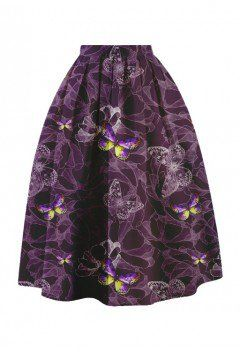 Purple Butterfly Dream Printed Midi Skirt - Retro, Indie and Unique Fashion