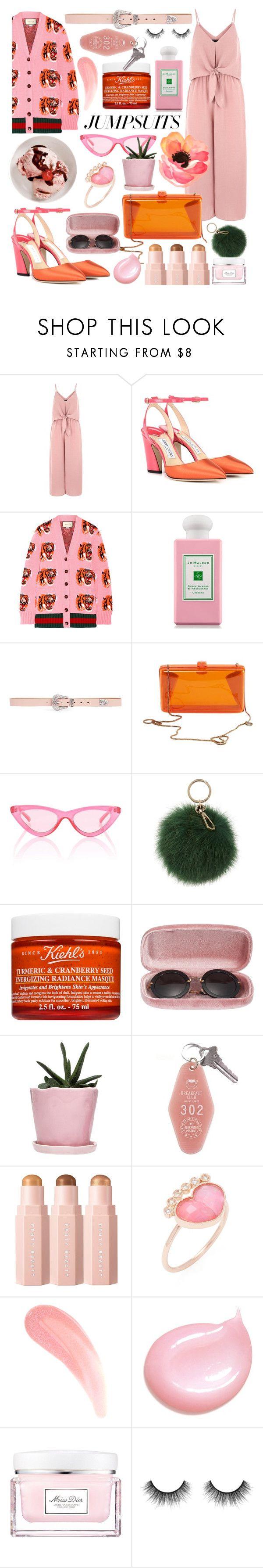 """Pink vs orange"" by cinnamon-keks ❤ liked on Polyvore featuring Jimmy Choo, Gucci, Jo Malone, Miss Selfridge, STELLA McCARTNEY, Le Specs, Coccinelle, Kiehl's, Miu Miu and Dot & Bo"