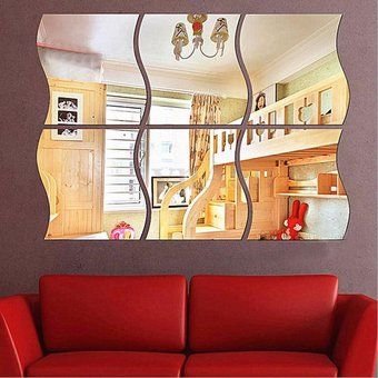 6pcs DIY habitación hogar extraíble pared espejo etiqueta arte vinilo decoración Mural calcomanía