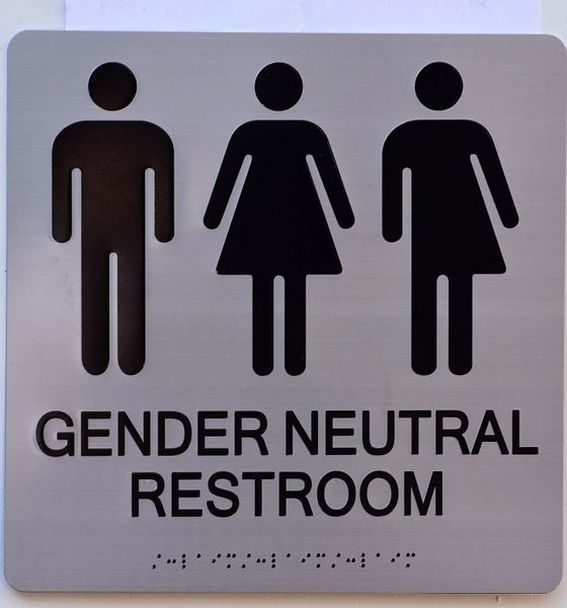 Gender Neutral Unisex Restroom Ada Sign Tactile Signs Silver 9x9 Inch Aluminium Ada Signs Aluminum Signs Restroom Sign