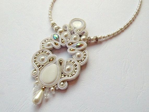 Beautiful Soutache Necklace, ivory shell bead and crystals. Wedding. Bridal…