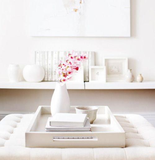 Good Idea To Put A Tray On The Coffee Table That Can Easily Be Removed From White Home Decorfor Homeottoman