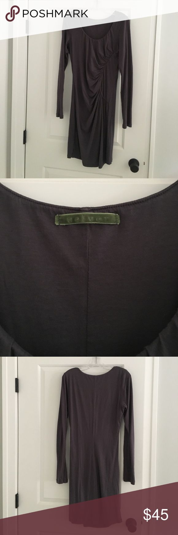 """""""Velvet"""" Long sleeve Grey Dress Love this dress! Long sleeve grey fitted mini dress - not too short that you can wear it for several functions. The dress is very gently worn and in great condition! Velvet Dresses Mini"""