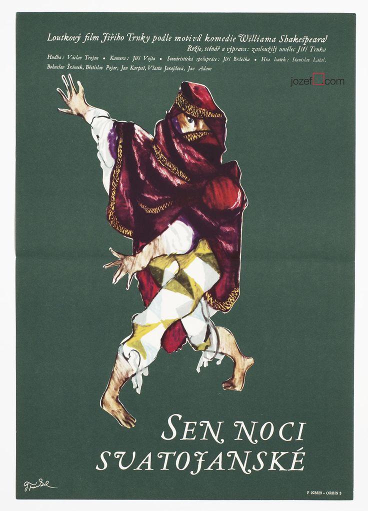 A Midsummer Night's Dream poster, Poster design by Jiří Trnka, Czechoslovakia, 1959 #graphicdesign #movieposter