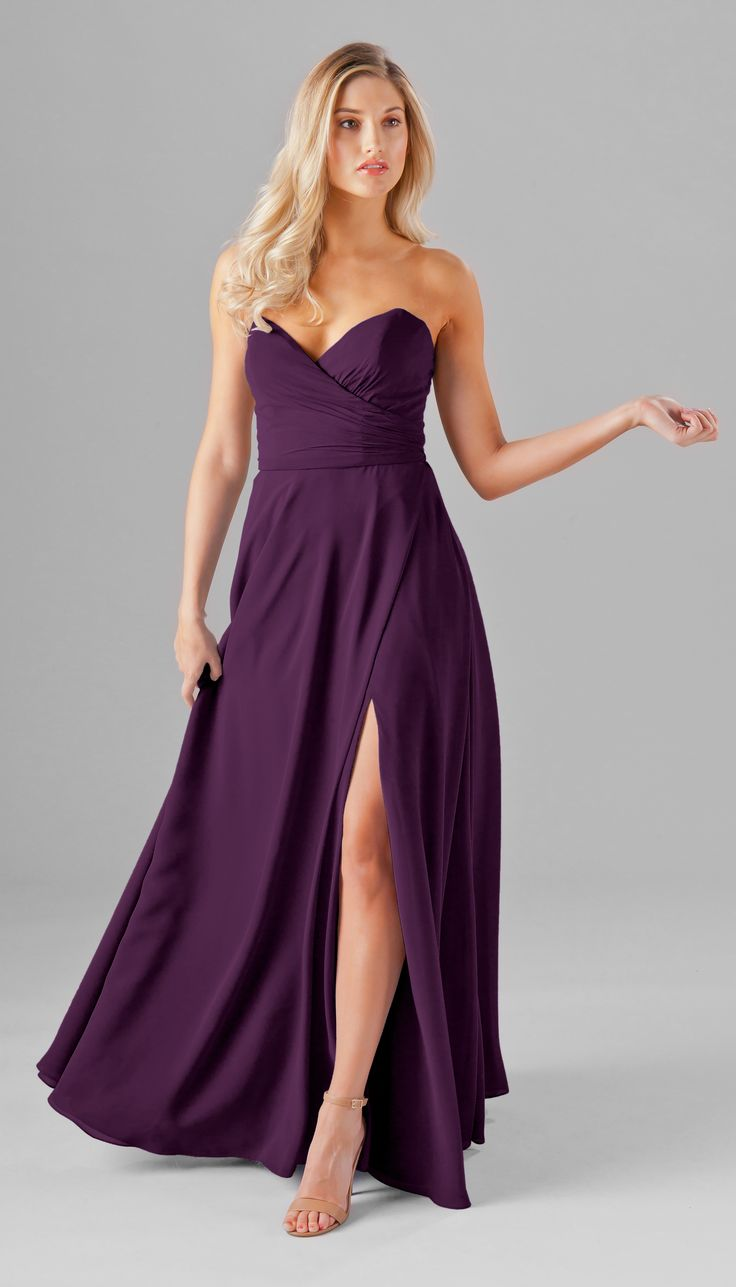 A strapless chiffon bridesmaid dress with pockets and a slit! | Kennedy Blue Poppy  Strapless sweetheart neckline | eggplant bridesmaid dress | eggplant wedding | purple bridesmaid dress | dark purple dress | long chiffon dress | purple wedding | bridesmaid style |