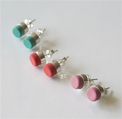 """Artware Editions  eraser earrings by """"E for Effort""""  eraser comes in pink, red, or green"""