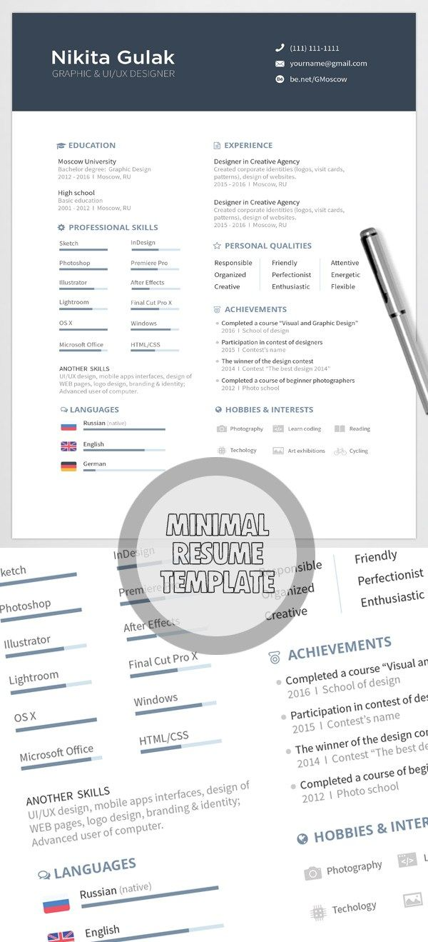 Best Images About Resumes On   Behance Professional