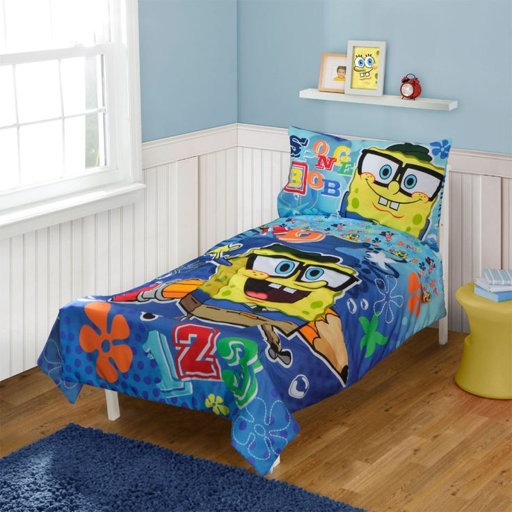 this spongebob squarepants toddler bedding 4 piece set will delight your child with brightly colored abcu0027s and and of course mr squarepants himself