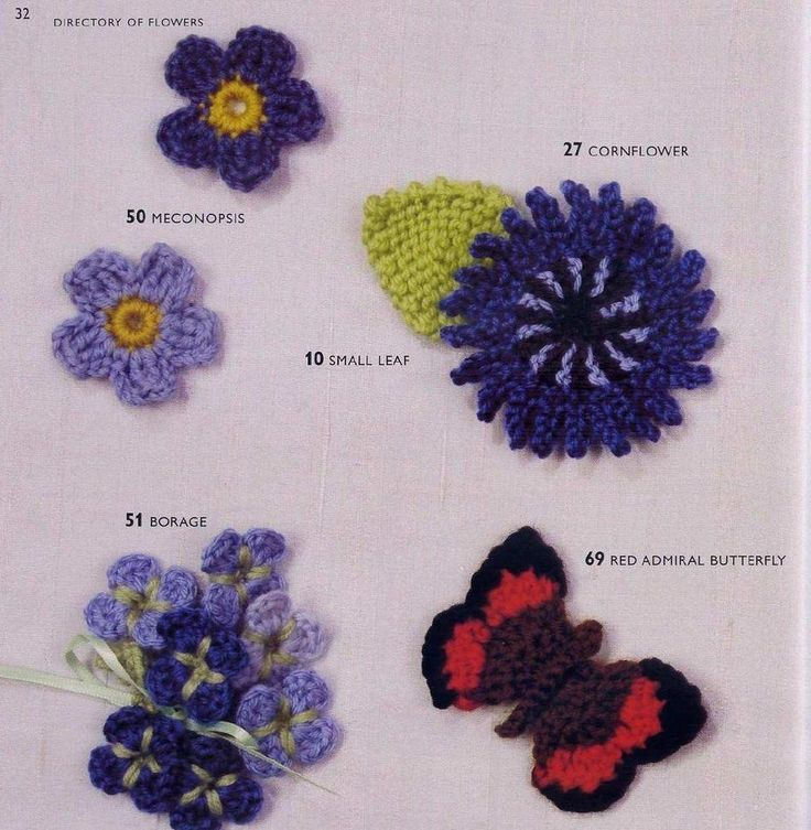 109 best 100 flowers to knit & crochet images on Pinterest | Punto ...