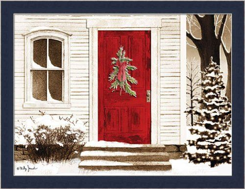 red door by billy jacobs christmas wreath winter snow scene framed art print picture wall dcor