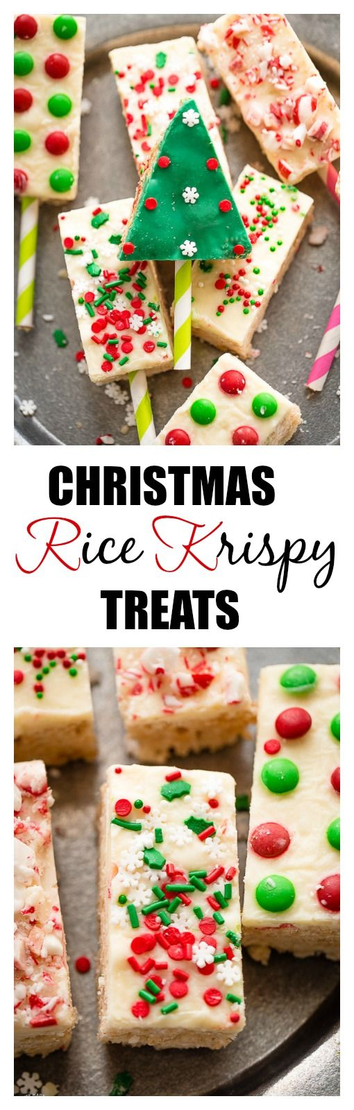 Christmas Rice Krispy Treats with White Chocolate and festive sprinkles are perfect for the holidays!