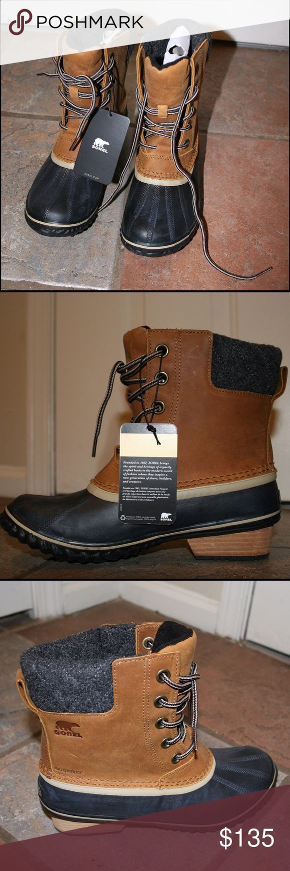 Sorel - Women's Slimpack ll Lace Duck Boot Fully seam-sealed and waterproof boot featuring a full-grain leather upper, a leather-wrapped heel, 100g insulation, vulcanized rubber and a super cozy micro fleece lining. NEVER BEEN WORN & BRAND NEW. I've worn 8.5 in sorels before but these were too small so I'm selling and getting a size 9. These are super cute on and great for fall and winter weather! Sorel Shoes Winter & Rain Boots