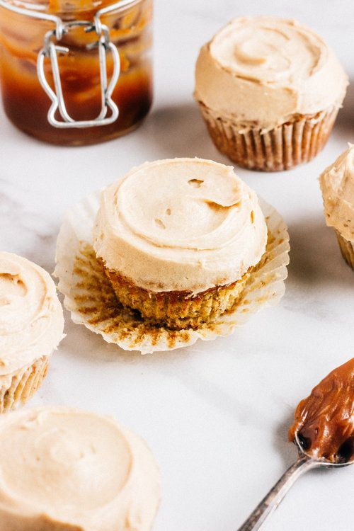 Caramel Filled Banana Cupcakes with Brown Sugar Cinnamon Frosting — The Whole Bite