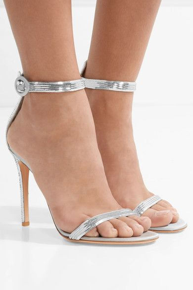 Heel measures approximately 105mm/ 4 inches Silver sequined satin Buckle-fastening ankle strap Made in ItalySmall to size. See Size & Fit notes.
