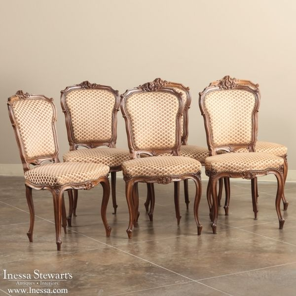 Antique Dining Room Furniture Chairs Set Of 6 Louis Xv Walnut