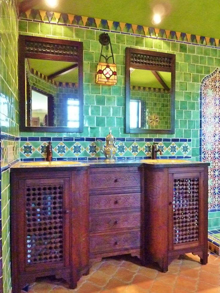Moroccan Themed Bathroom Using Turkish, Moroccan And Mexican Tiles By  Kristiblackdesigns.com