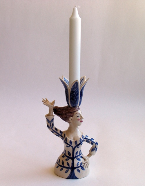 'Woman Candlestick' by Helen Kemp. Functional Ceramic sculpture, handcrafted and handpainted. £215  info@whitehousegallery.com  01557 330223