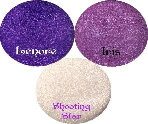 Purple Eyeshadow  Stack  Lenore, Iris, Shooting Star by SpectrumCosmetic on Etsy https://www.etsy.com/listing/64436805/purple-eyeshadow-stack-lenore-iris
