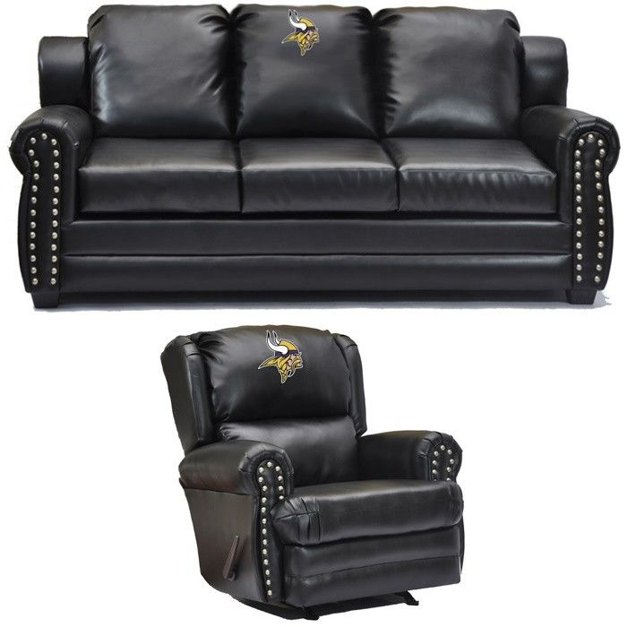 Minnesota Vikings NFL Coach Leather Furniture Set. Visit SportsFansPlus.com  For Discount Coupon.
