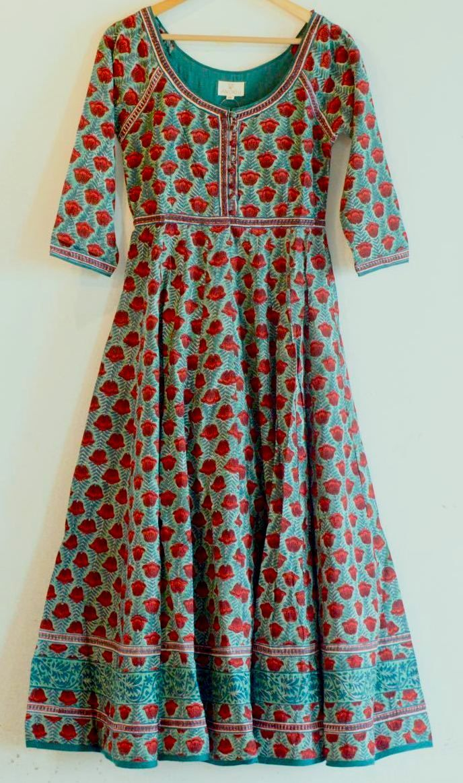 da5fbc7013 Khadiwallah - Boho chic Anokhi Green & Red Pentalissa Floral Hand block  print Indian cotton Gypsy style Maxi Dress