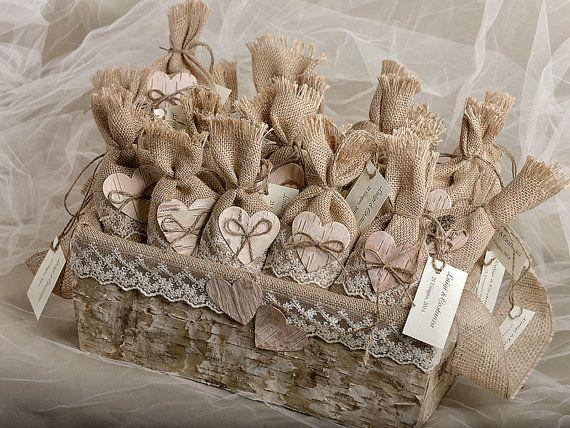 Set of 50 Burlap Wedding Favor Bags and Big basket ,Rustic Wedding Set,  Natural Birch Bark Wedding Favor, Rustic Favor Bag