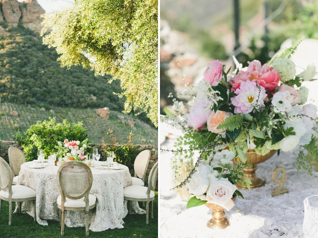 Centerpiece inspiration + gold containers