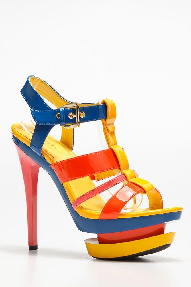 Multi-Color Strappy Heels