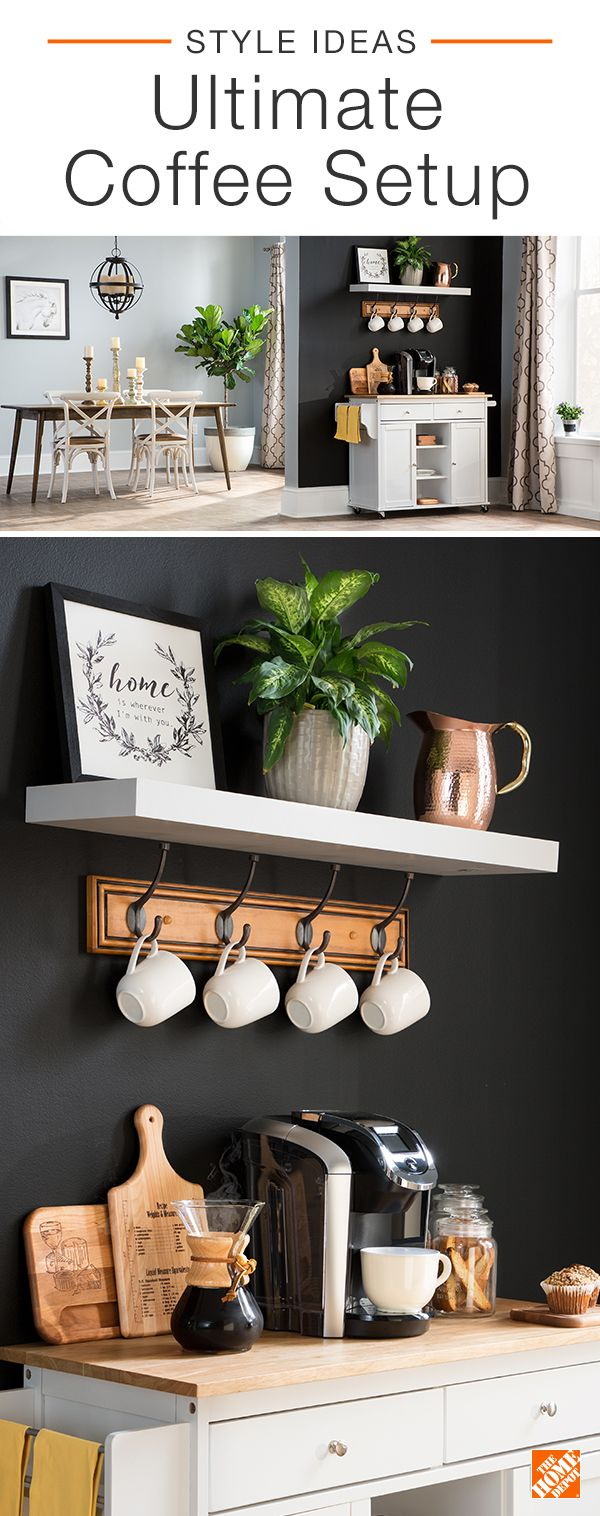 Create a modern coffee station in your kitchen for convenient caffeine. Establish this space away from the main work zone of the kitchen so you're not bumping into anyone else. Keep everything you need, like coffee filters and tea bags, at the station so you can quickly start your mornings or treat your guests. Click to shop the products in this ultimate coffee set up.