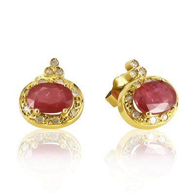 Par de brincos em ouro 18k com diamantes e rubis