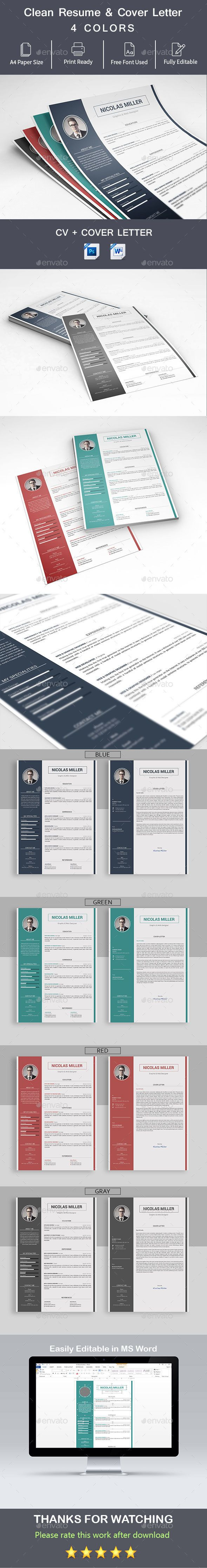 simple clean modern professional Resume template design