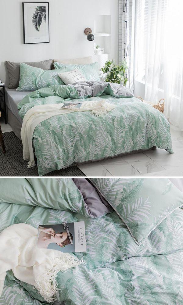 Mint Forest Duvet Cover Set 100 Cotton Mint Green Bedding Green Bedding Set Green Bedding