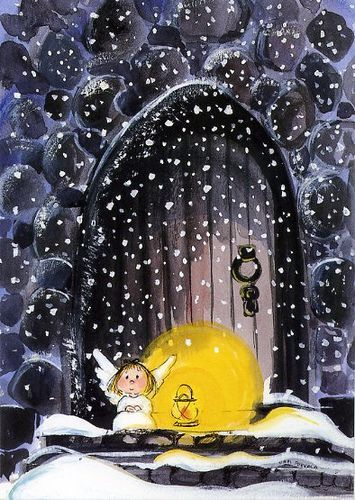 Tiny angel in the snow - illustration by Virpi Pekkala, Finland: