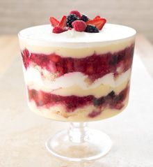 Summer Berry Trifle. Trifles usually look a lot better than they taste because busy cooks simplify the complicated preparation by subbing in pre-made or instant components. In this recipe, we streamline the components so that the entire trifle can be made from scratch in just a few hours. We added a little extra flour to a classic chiffon cake so we could bake it in an 18x13-inch sheet, which bakes & cools much more quickly than the traditional tall chiffon cake, & we prevented our pastry…