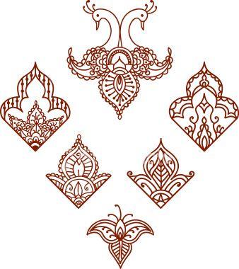 Mehndi Corner Designs (Vector) Royalty Free Stock Vector Art Illustration