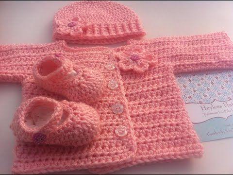 How To Crochet The Three Way Baby Sweater Tutorial - YouTube